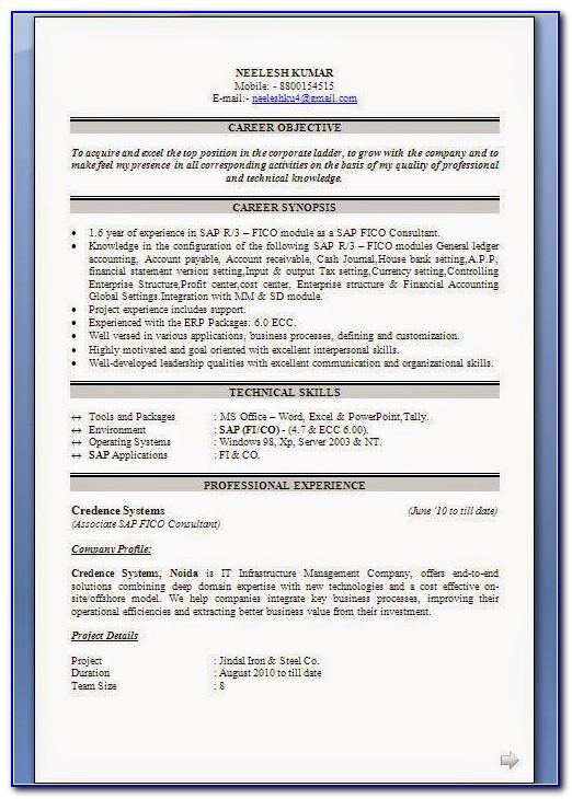 Sample Resume For Sap Fi Fresher