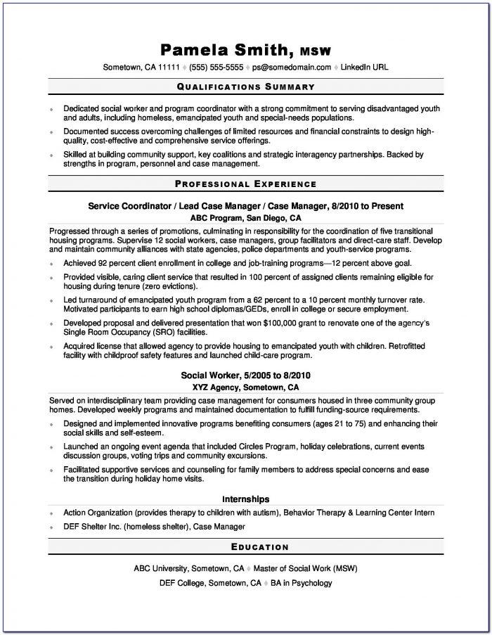 Sample Resume For School Social Worker