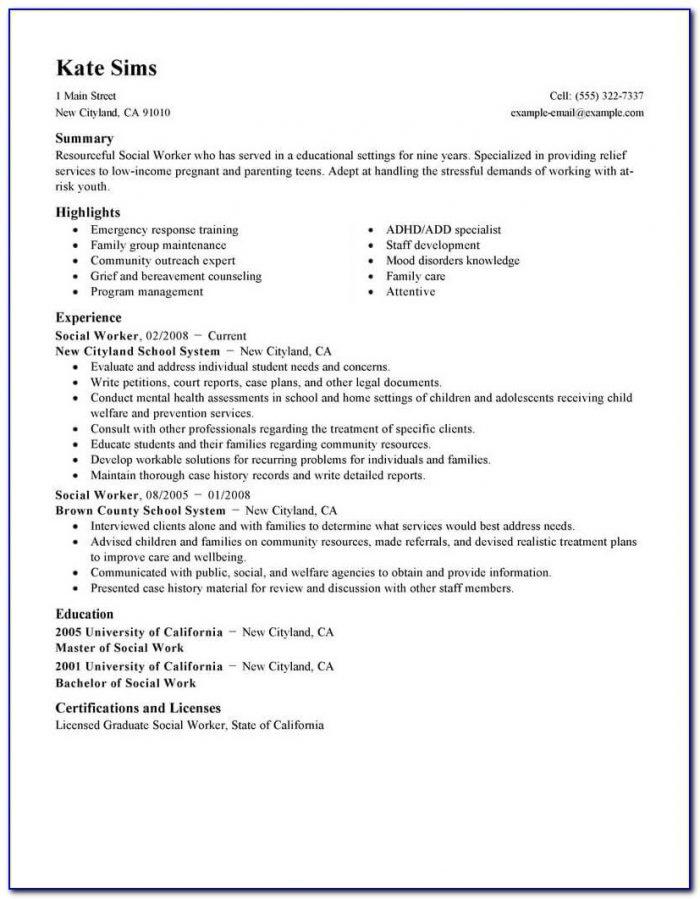 Sample Resume For Social Worker Assistant