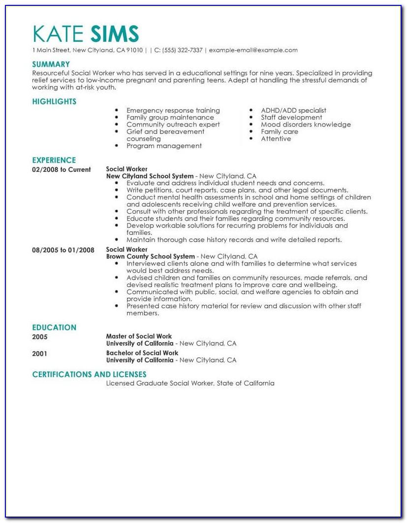 Sample Resume For Social Worker Intern