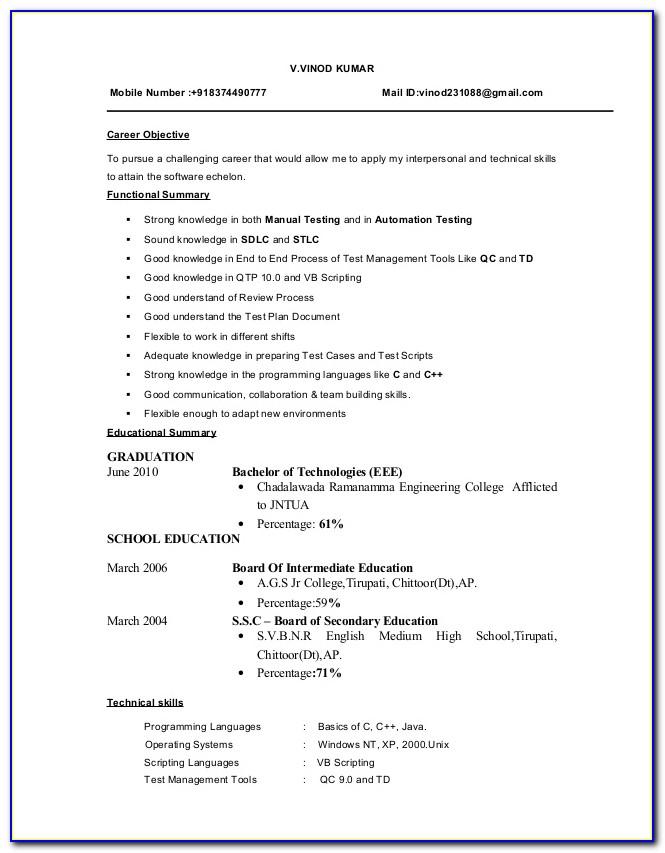 Sample Resume For Software Testing Freshers
