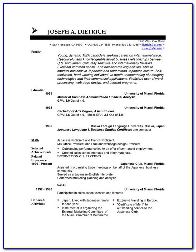 Sample Resume Format Download In Ms Word