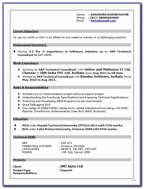 Sample Resume Format For Sap Fico Freshers
