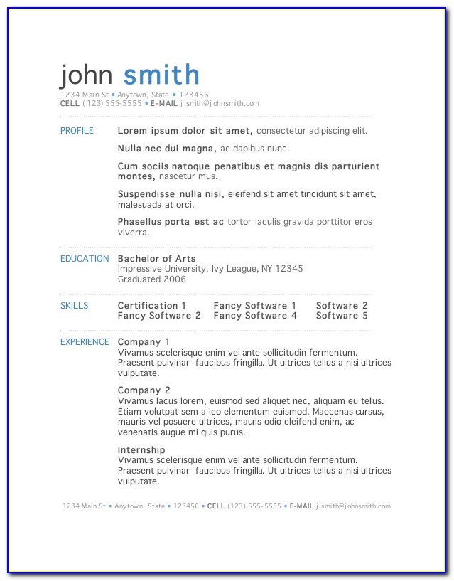 Sample Resume Format In Word File Free Download