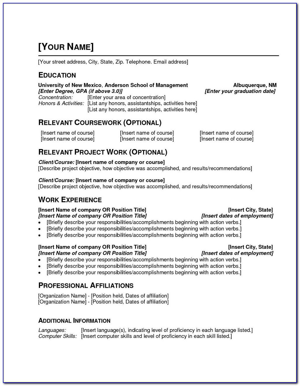 Sample Resume Free Download Word