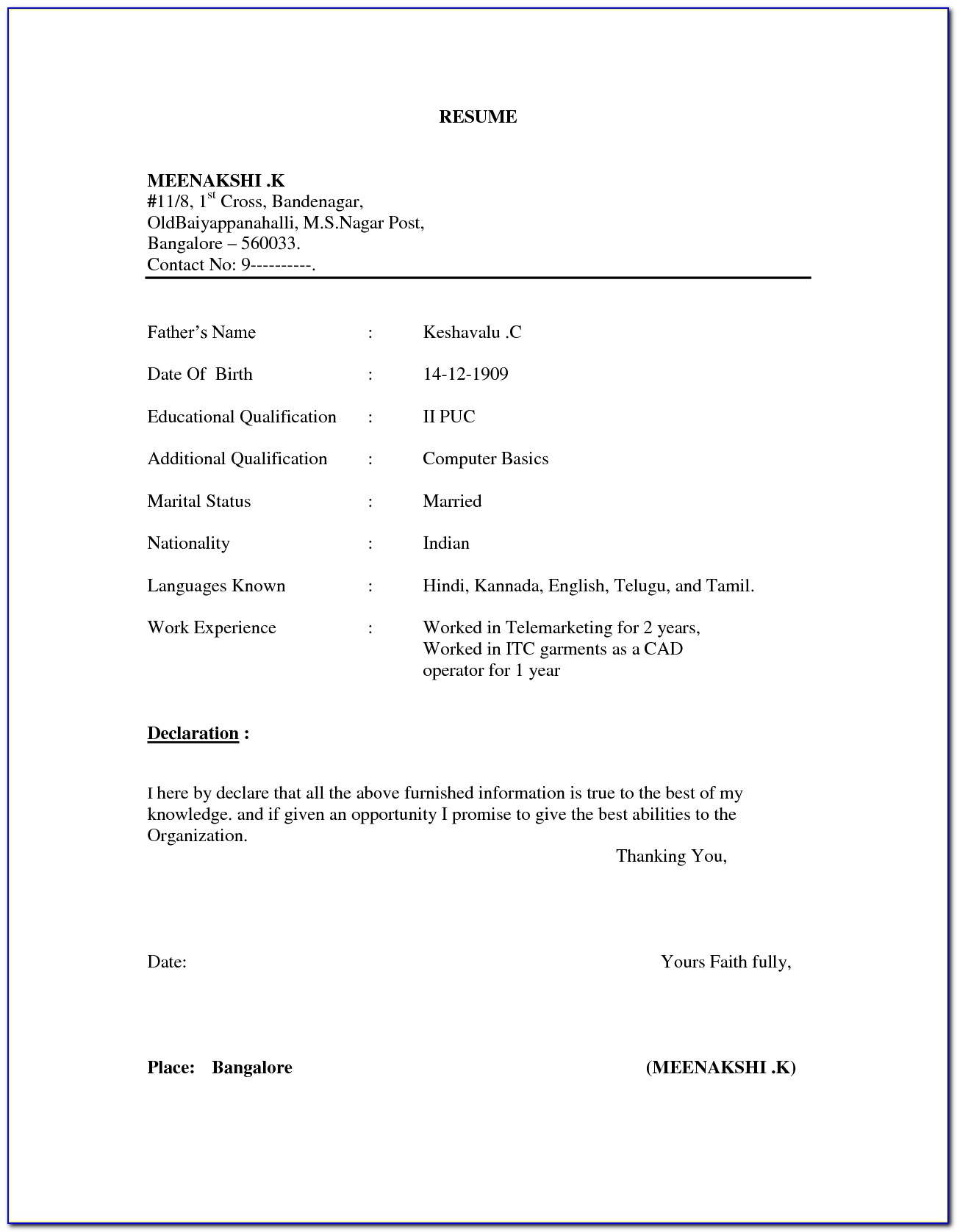 Sample Resume In Word Format Download