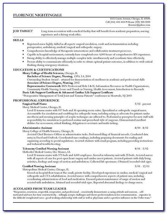 Sample Resume Nurse With Experience
