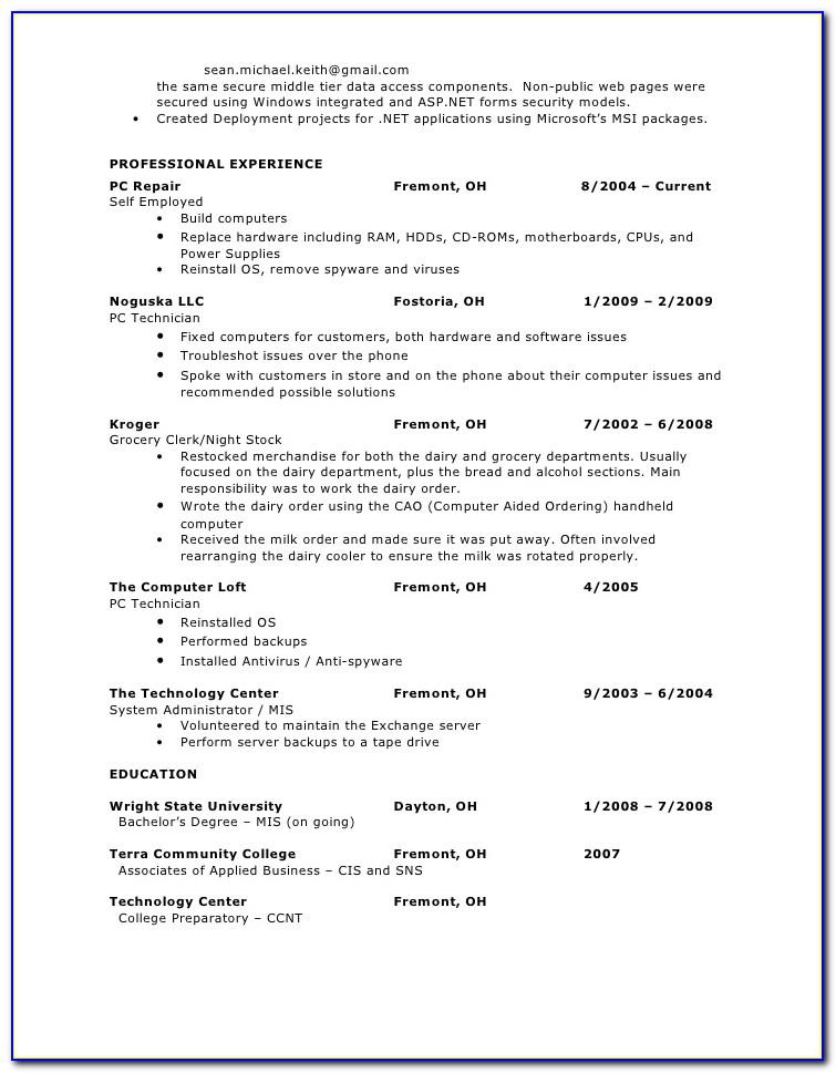 Sample Resume Of .net Developer Fresher
