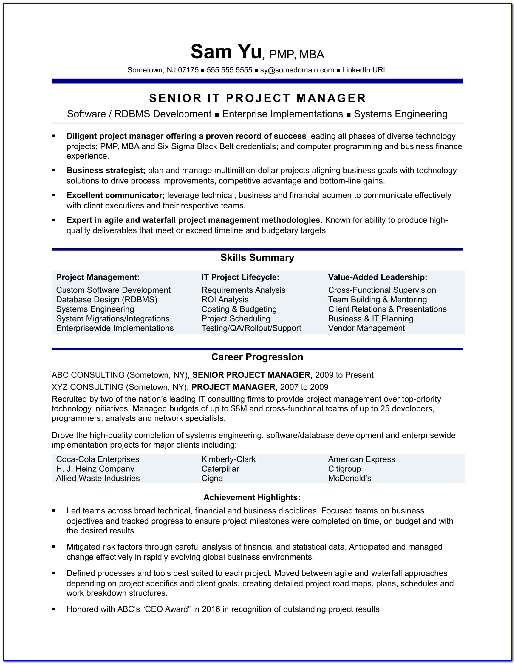 Sample Resume Of A Construction Project Manager