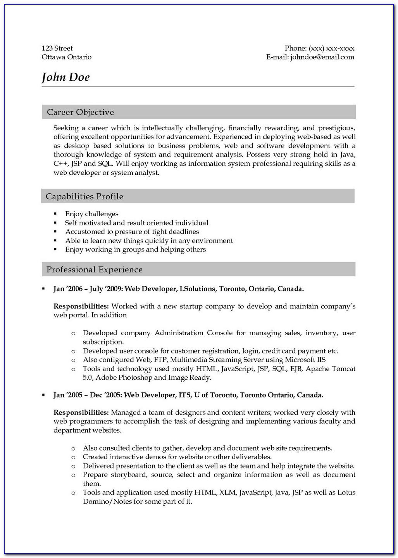 Sample Resume Of Asp.net Developer