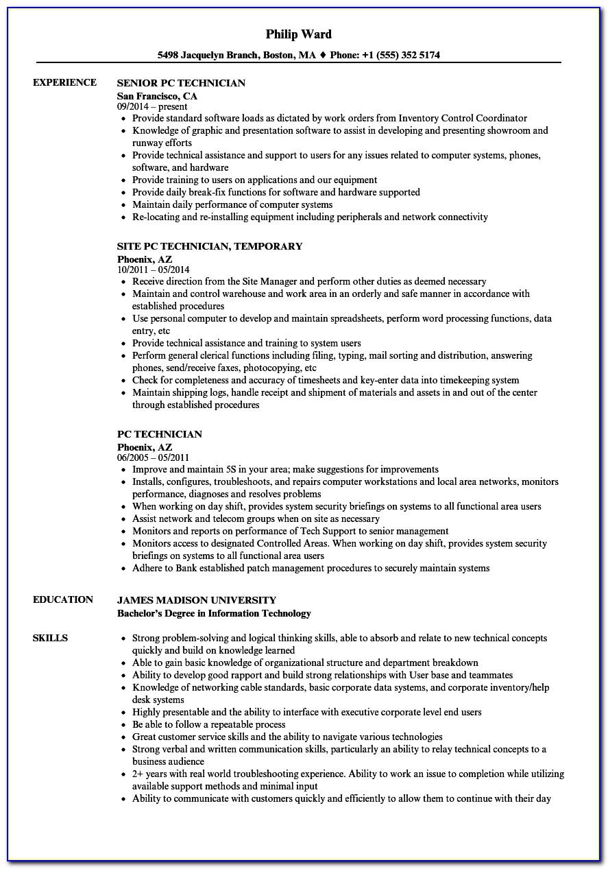 Sample Resume Of Computer Network Technician