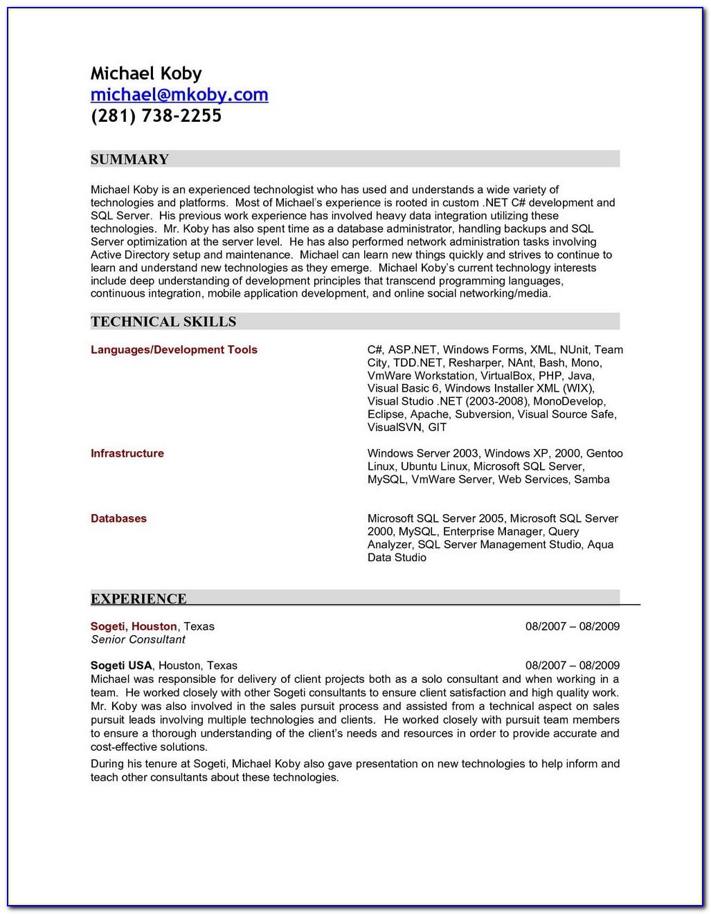 Sample Resume Of Dot Net Developer