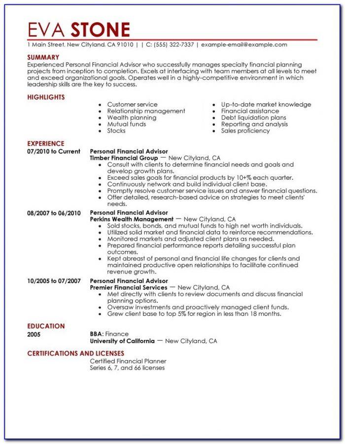 Sample Resume Of Financial Advisor