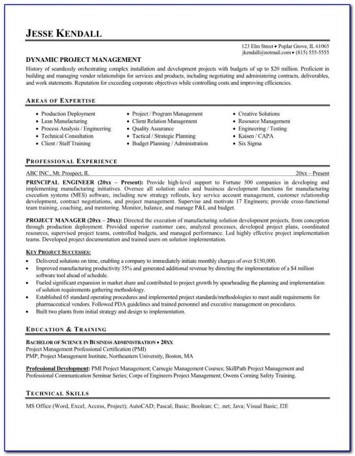 Sample Resume Of Technical Project Manager