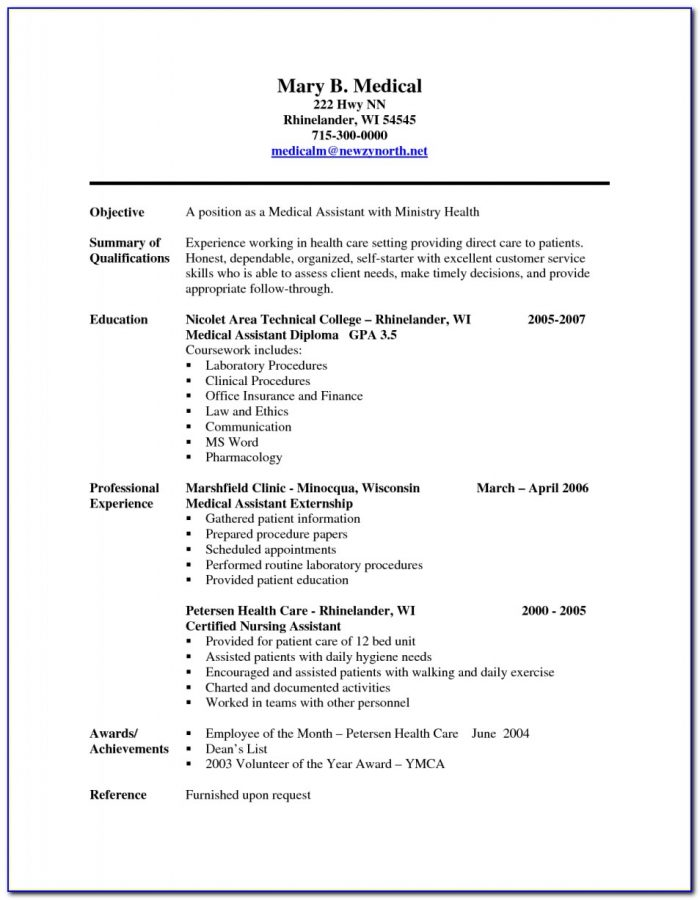 Sample Resume Templates For Medical Assistants
