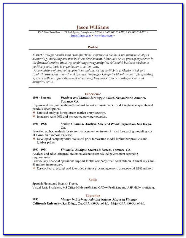 Sample Resume Word Format Download