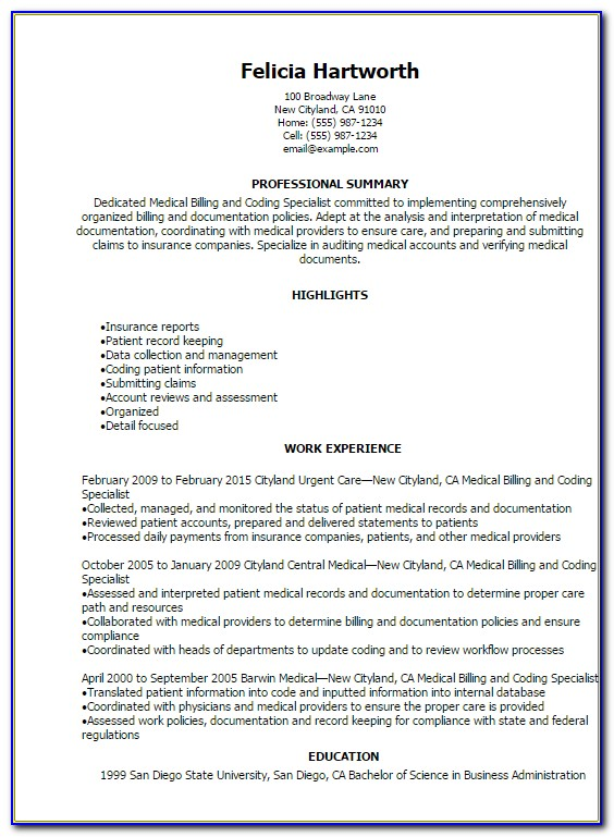 Sample Resumes For Medical Billing And Coding Specialist