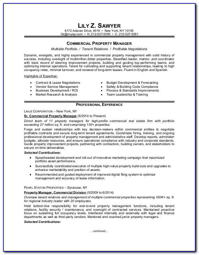Sample Resumes For Property Managers
