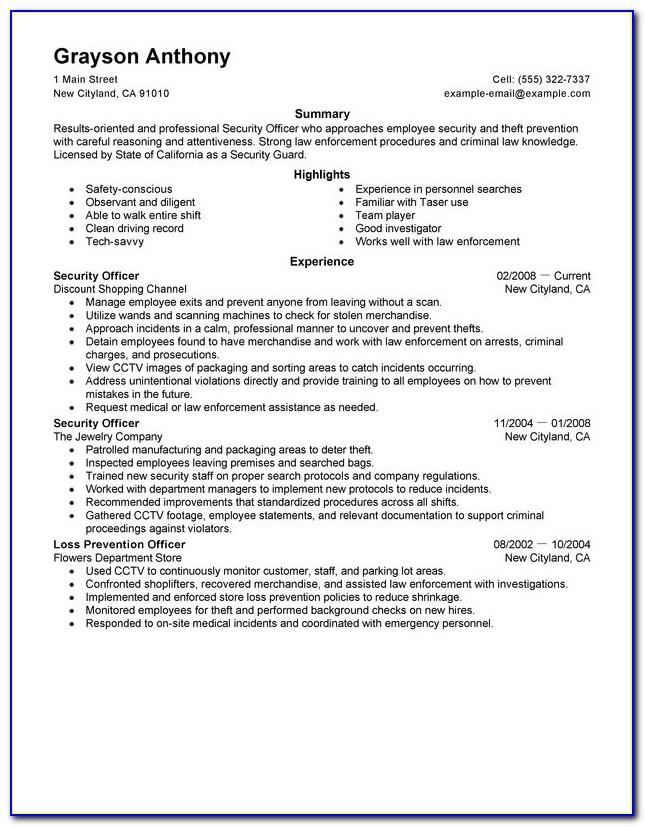 Sample Security Guard Supervisor Resume