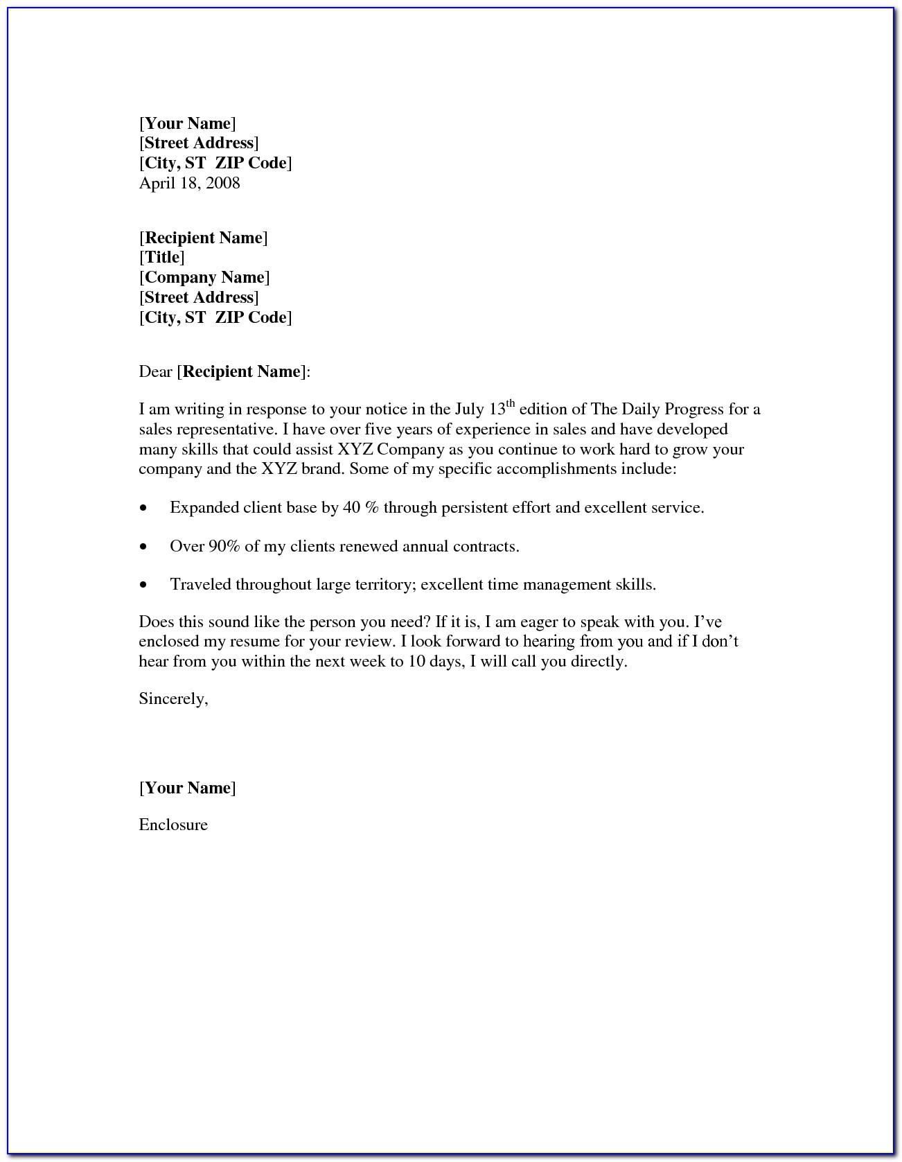 Sample Teacher Resume And Cover Letter