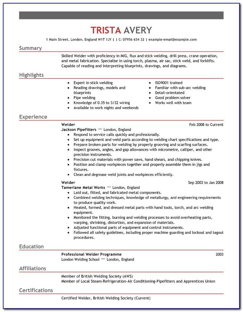 Sample Welding Resume Examples