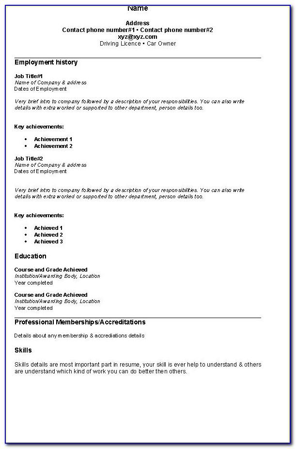 Samples Of Basic Resumes