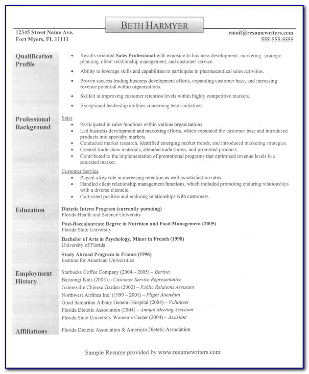 Samples Of Best Professional Resumes