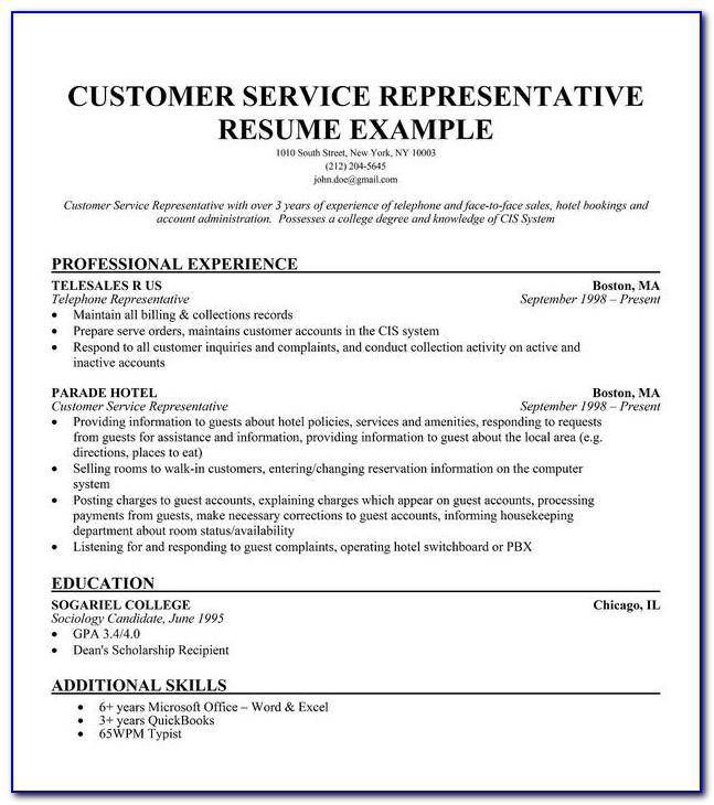 Samples Of Resume For Customer Service