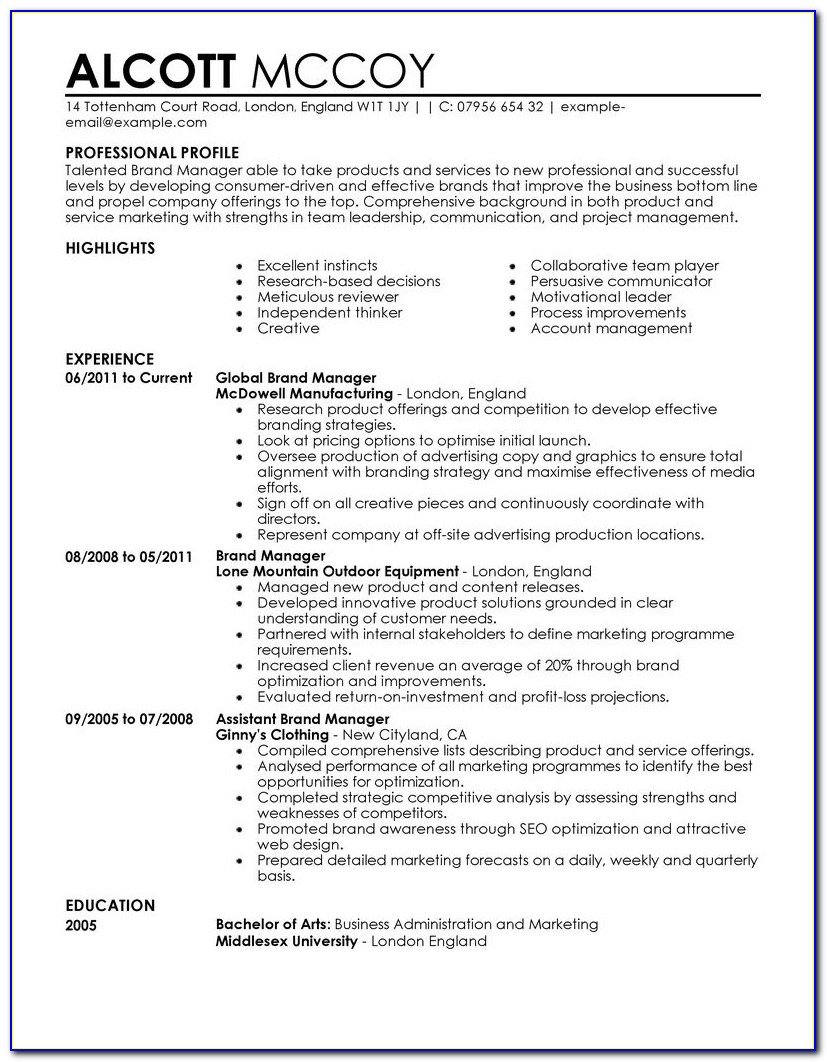 Samples Of Sales And Marketing Resumes
