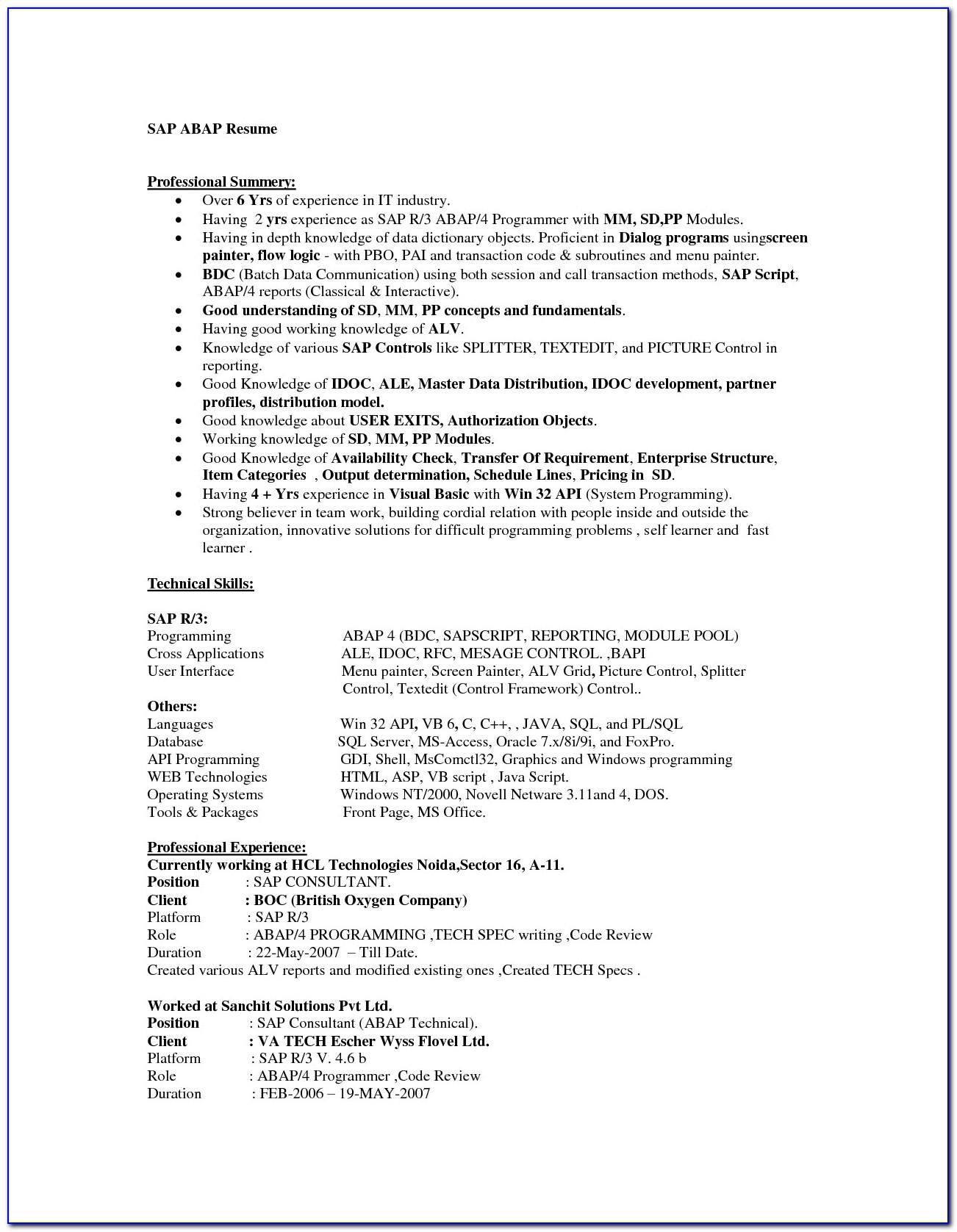 Sap End User Resume Sd