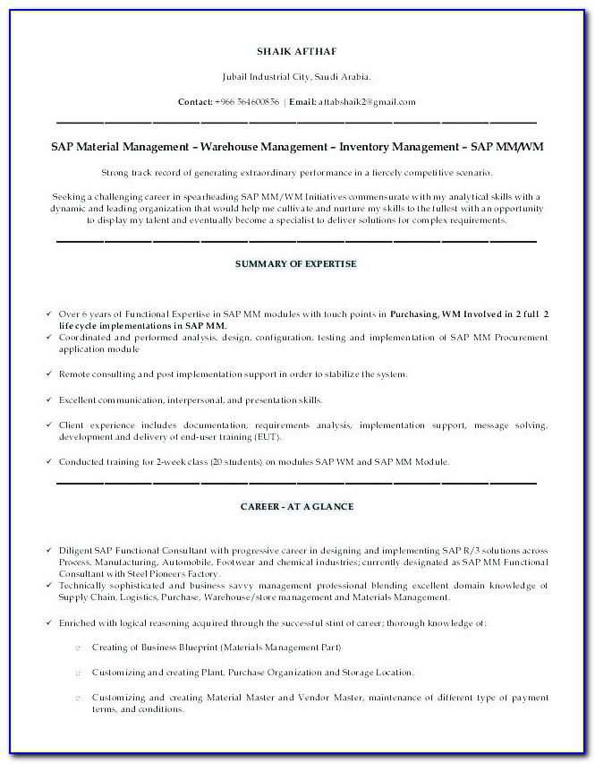 Sap Fi End User Resume