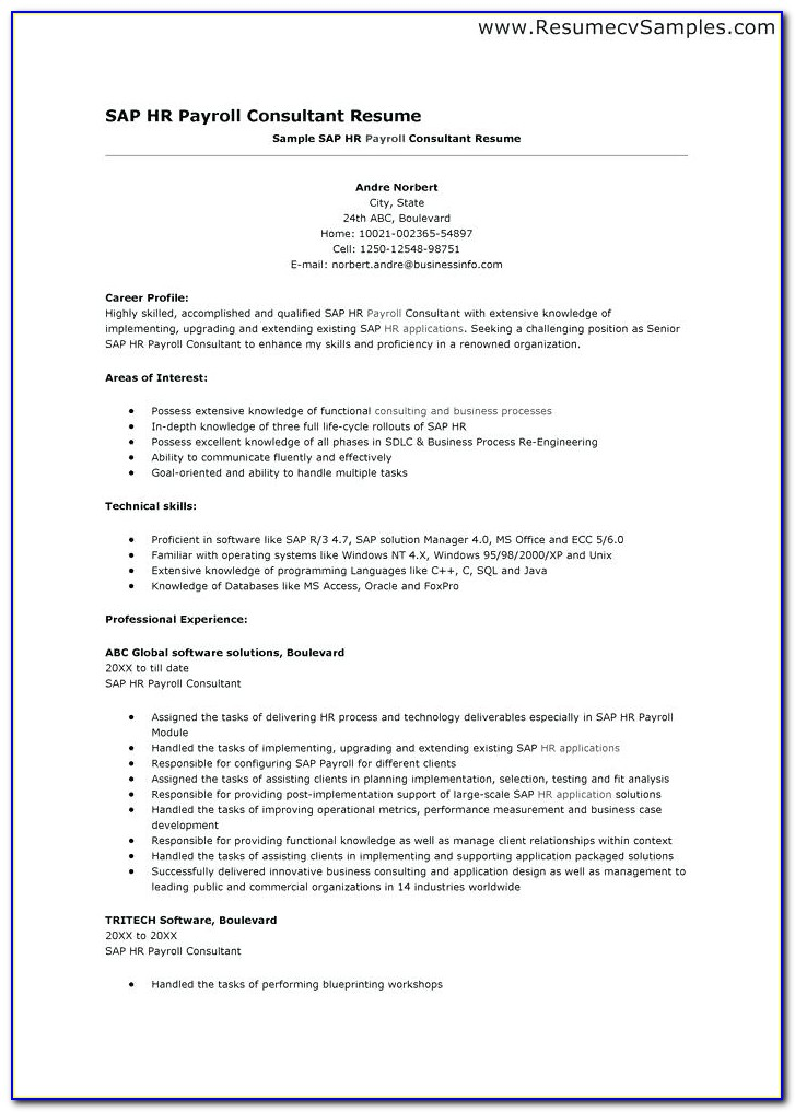 Sap Security Sample Resumes