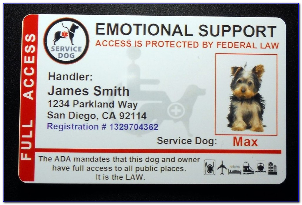 Service Dog Badge Template