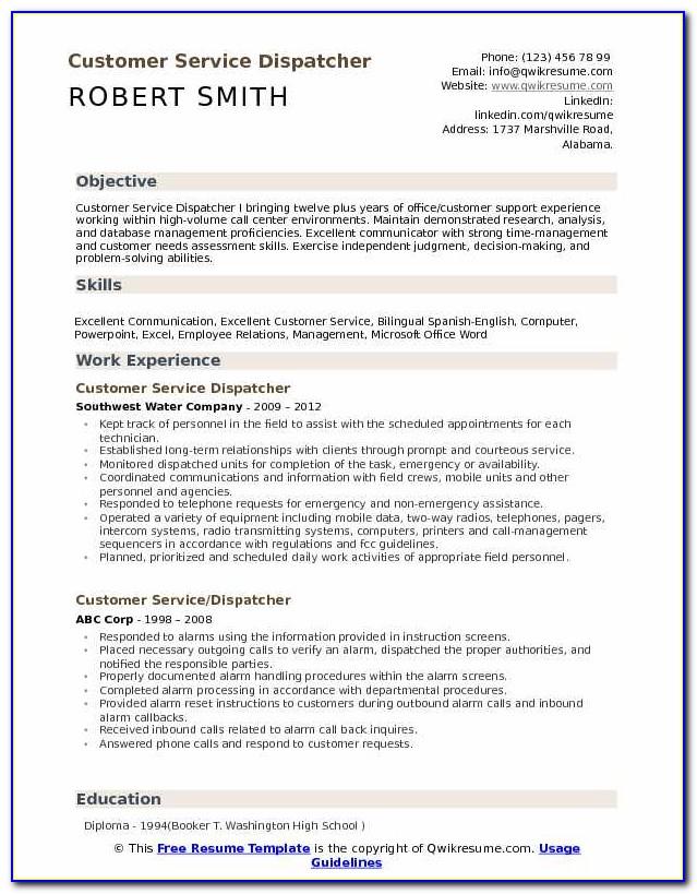 Service Order Dispatcher Resume