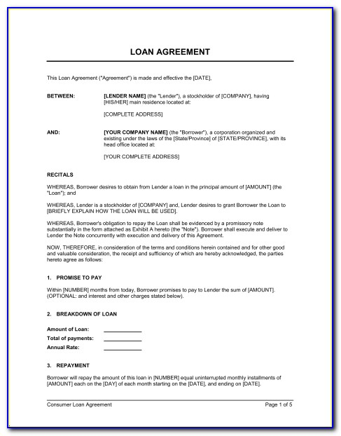 Shareholder Loan Agreement Template Word