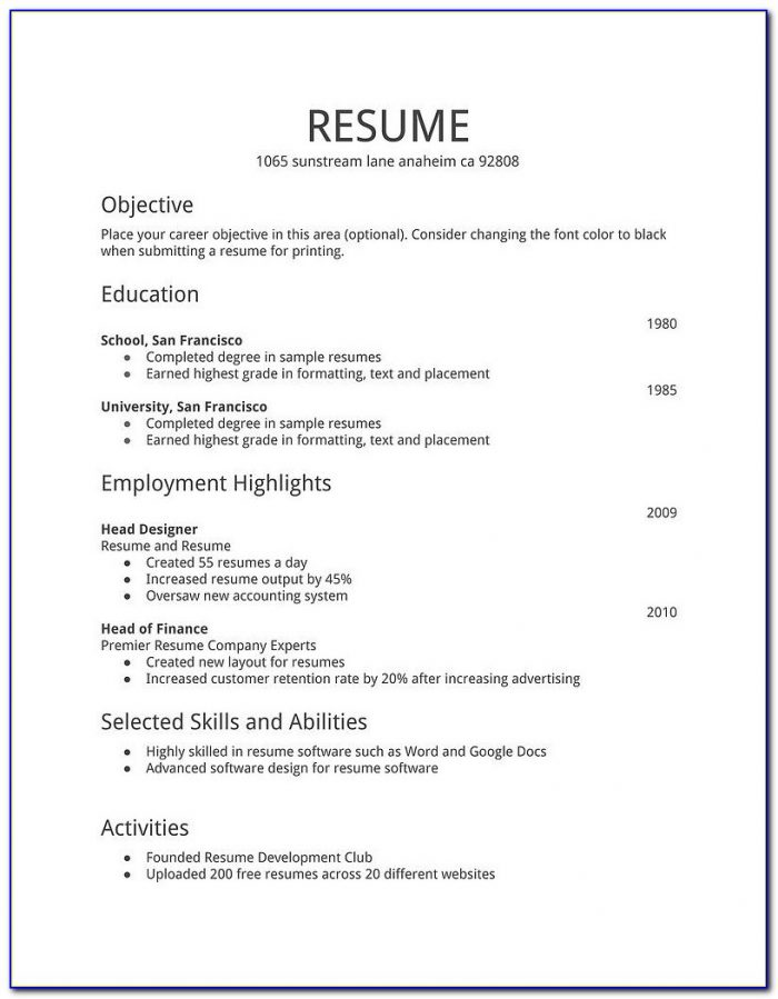 Simple Job Resume Format Download In Ms Word