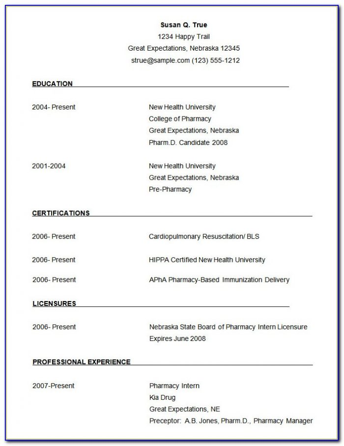 Simple Resume Format For Students Free Download