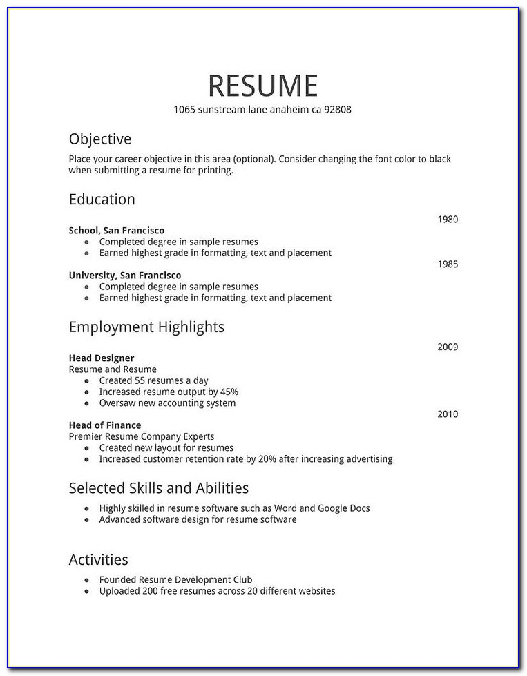 Simple Resume Samples For Jobs