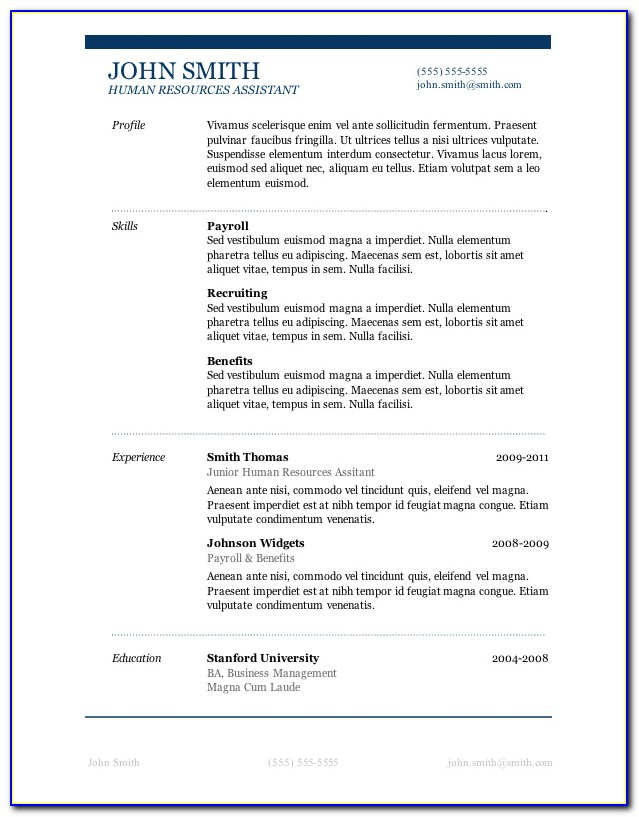 Simple Sample Resume Format Free Download