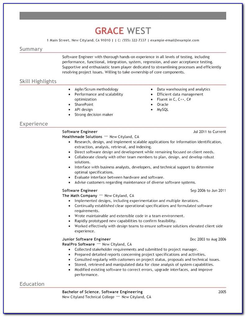 Free Software Engineer Resume Template Microsoft Word Download With Software Engineer Resume Template Microsoft Word Download