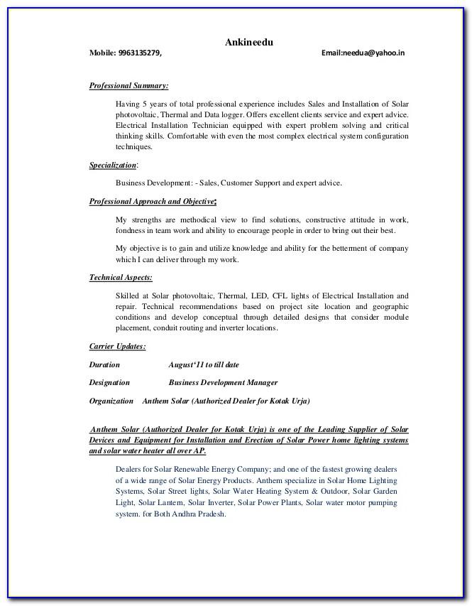 Solar Installer Resume Objective