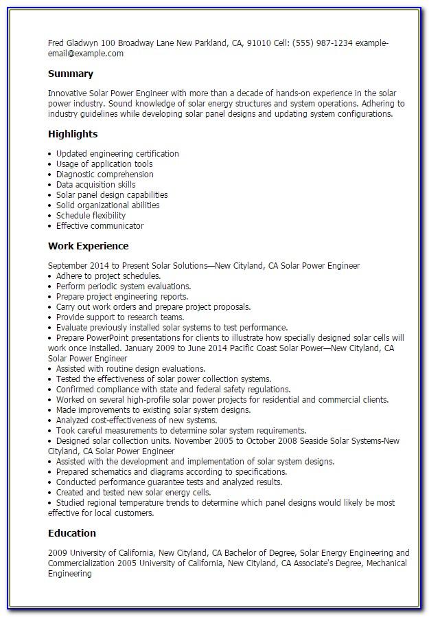 Solar Technician Resume