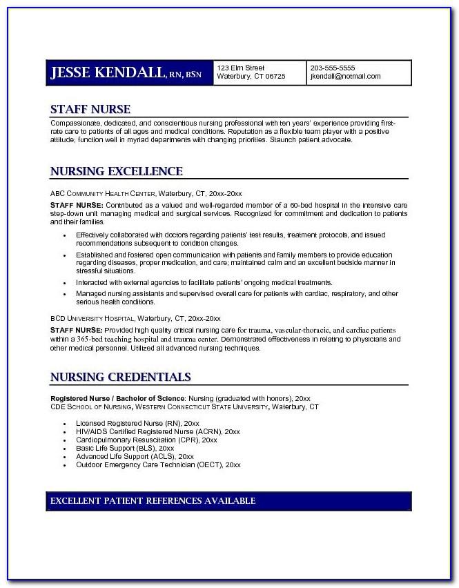 Staff Nurse Resume Sample Pdf