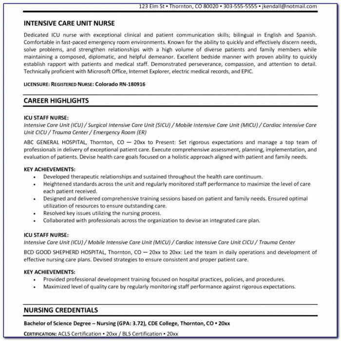 Staff Nurse Sample Resume Work Experience