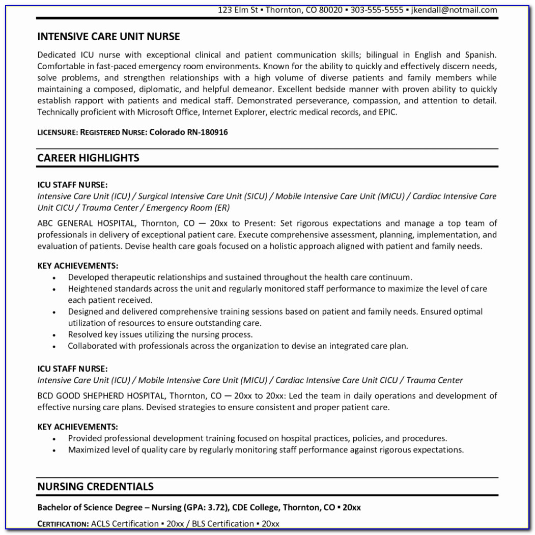Staff Nurse Sample Resume Work Experience