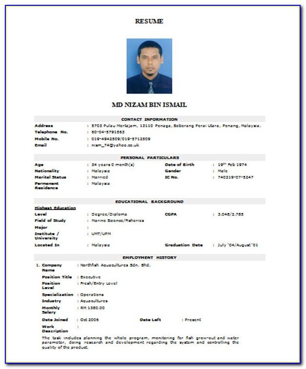 Standard Resume Format For Doctor