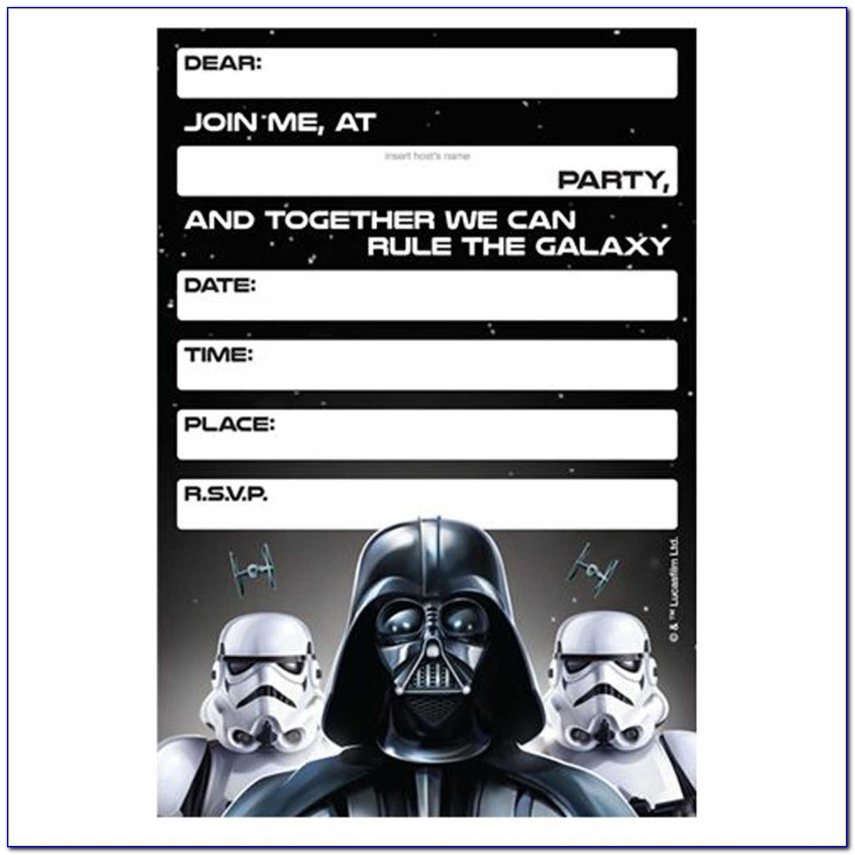 Star Wars Birthday Invitations Template Free