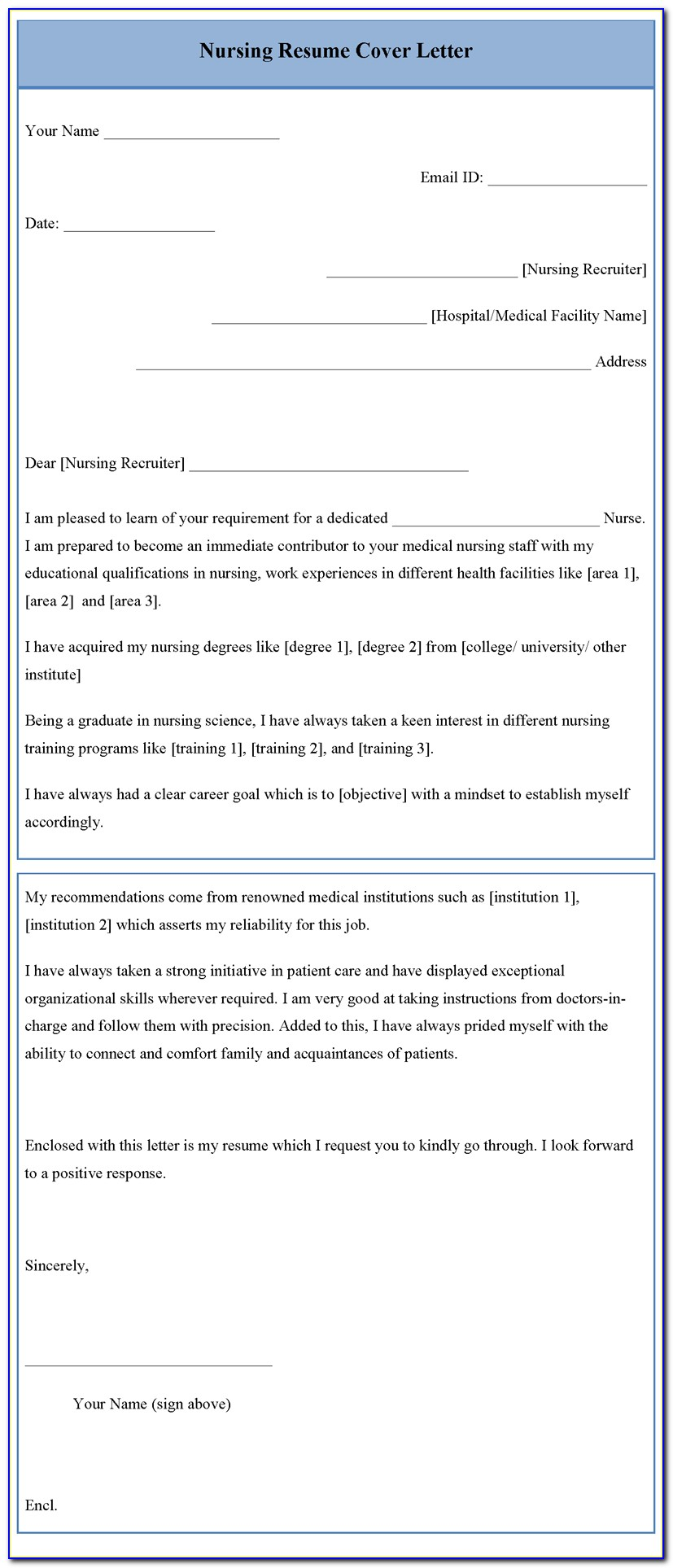 Templates For Resume Cover Letters