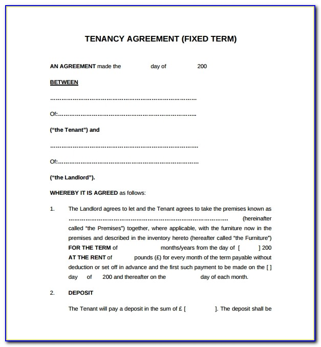 Tenancy Agreement Template Pdf