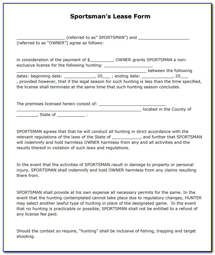 Texas Hunting Lease Agreement Template